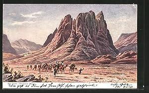 Künstler-Ansichtskarte Friedrich Perlberg: Berg Sanai, Dschebel Musa