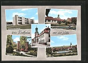 Ansichtskarte Rodheim v. d. H., Ehrenmal, Volksbad,