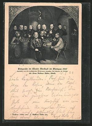 Künstler-Ansichtskarte Eltville, Matheus Müller, Weinprobe im Kloster