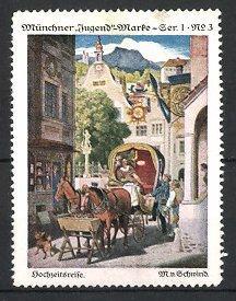 Künstler-Reklamemarke M. von Schwind, Hochzeitsreise mit Kutsche,