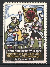 Reklamemarke Schliersee, Fahnenweihe 1913, Veranstaltet von der