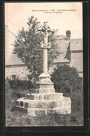 Carte postale Veules-les-Roses, la croix de pierre