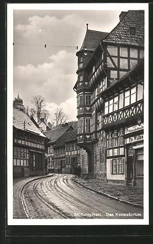 Ansichtskarte Stolberg, Strasse mit dem Konsistorium