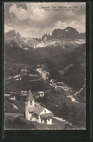 Cartolina San Cipriano, Panorama verso il Gruppo