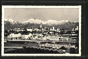 Ansichtskarte Kranj, Gesamtansicht mit Gebirgspanorama