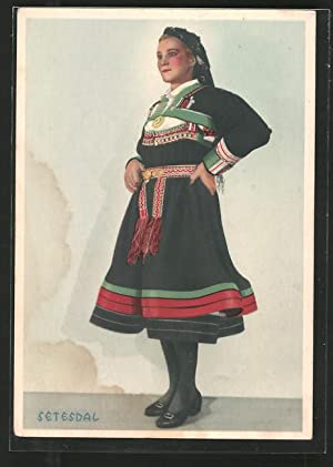 Ansichtskarte Setesdal, Frau in lokaler Trachtenkleidung