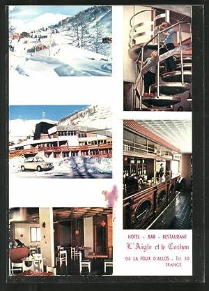 """Carte postale La-Foux-d'Allos, hôtel-restaurant """"L'Aigle et le"""