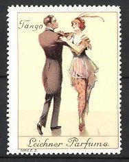 Reklamemarke Berlin, Leichner Parfums, elegantes Paar tanzt