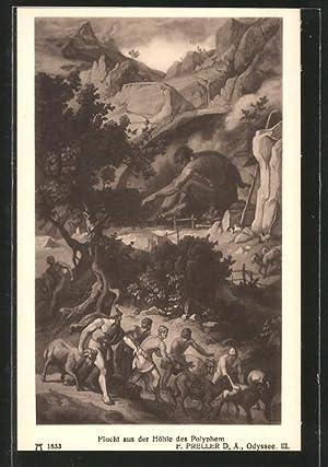 """Ansichtskarte Sage, """"Homer's Odyssee"""", Flucht aus des"""
