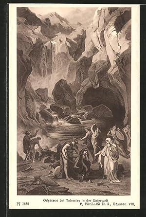 "Ansichtskarte Sage, ""Homer's Odyssee"", Odysseus bei Teiresias"