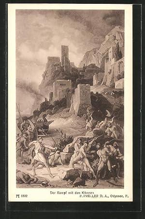 """Ansichtskarte Sage, """"Homer's Odyssee"""", Der Kampf mit"""