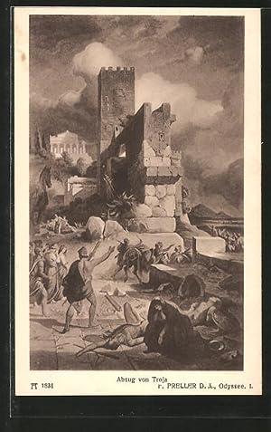 """Ansichtskarte Sage, """"Homer's Odyssee"""", Abzug von Troja"""