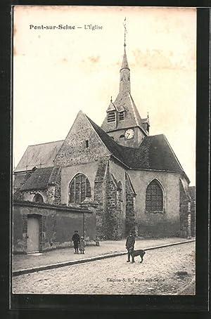 Carte postale Pont sur Seine, L'Église, deux