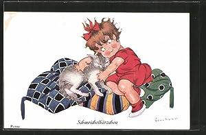 Künstler-Ansichtskarte Chicky Spark: Schmeichelkätzchen, Mädchen und Mieze