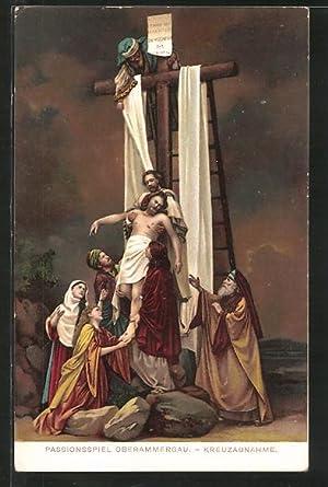 Lithographie Oberammergau, Passionsspiele, Kreuzabnahme, Christus