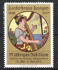 Reklamemarke Langen, Liederkranz 75 jähriges Jubiläum 1838-1913,