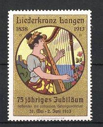 Reklamemarke Langen, Liederkranz 1838-1913, 75 jähriges Jubiläum