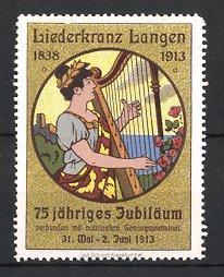 Reklamemarke Langen, Liederkranz 1838-1913, 75 jähriges Jubiläum,