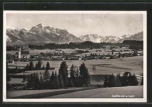 Ansichtskarte Lechbruck, Ortsansicht mit Blick auf Berge