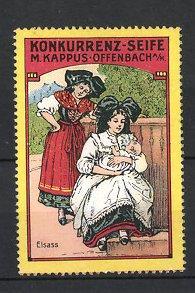 Reklamemarke Offenbach, Konkurrenz-Seife M. Kappus, Frauen in