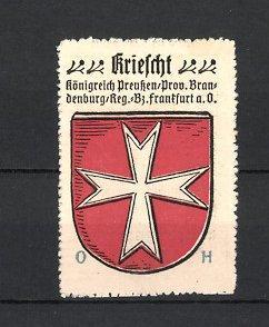 Reklamemarke Kriescht, Königreich Preussen, Provinz Brandenburg, Regierungs-Bezirk