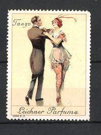 Reklamemarke Leichner Parfums, Paar elegant gekleidet tanzt