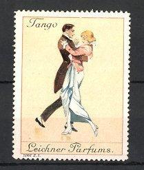 Reklamemarke Leichner Parfums, elegantes Paar tanzt Tango