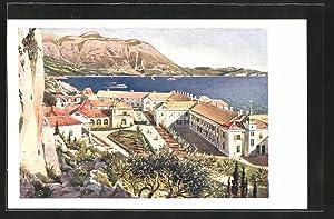 Künstler-Ansichtskarte Kupari, Teilansicht mit Blick zum Meer,
