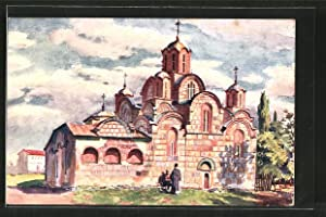 Künstler-Ansichtskarte Gratchanitza / Kossovo, Blick auf die