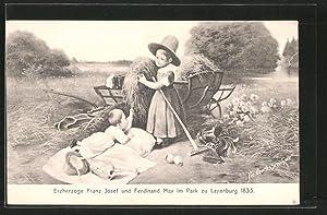 Künstler-Ansichtskarte Laxenburg, Erzherzöge Franz Josef und Ferdinand