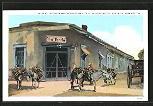 Postcard Santa Fe, NM, Ancient la Fonda