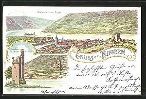 Lithographie Bingen, Mäusethurm und Ruine Ehrenfels, Totalansicht