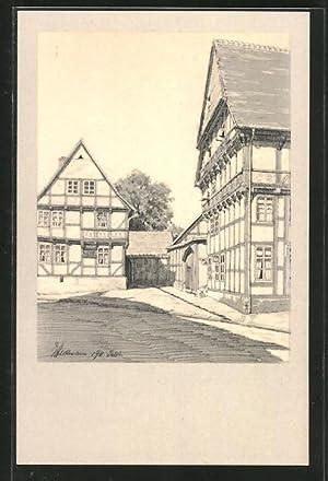 Künstler-Ansichtskarte Osterwieck, Alte Holzbauten, Eingan in den