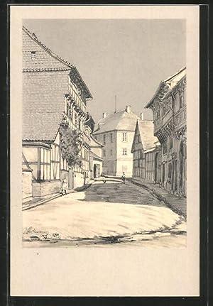 Künstler-Ansichtskarte Osterwieck, Alte Holzbauten, Schulzenstrasse