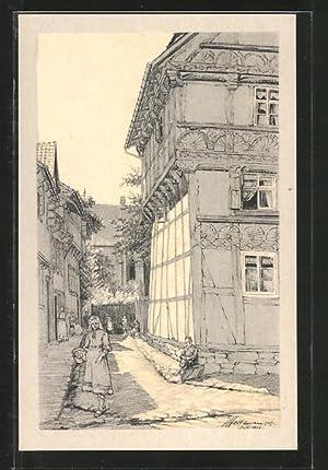 Künstler-Ansichtskarte Osterwieck, Alte Holzbauten, Blick vom Hagen