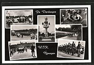 Ansichtskarte Nijmegen, de Vierdaagse, Wandervögel, rückseitig Marschlied