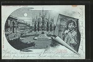Lume di luna-Cartolina Milano, Piazza del Duomo,