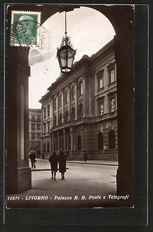 Cartolina Livorno, Palazzo R. R. Poste e