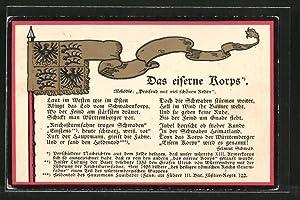Präge-Ansichtskarte Marschlied: Das eiserne Korps, Fahne