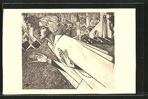 Künstler-Ansichtskarte Jan Toorop: Heilige mit Kreuz