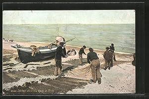 Ansichtskarte Séchage des filets après la pêche,