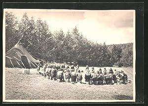 Ansichtskarte Louette St-Pierre, Le diner au camp