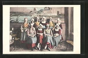 Ansichtskarte Volendam, Groep diensters in Marker- en