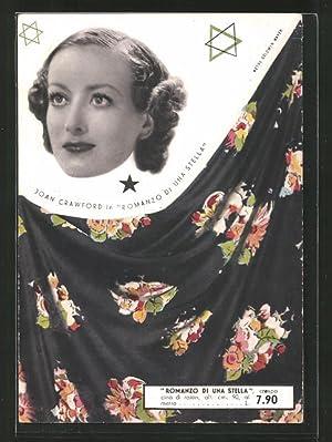 Ansichtskarte Schauspielerin Porträt Joan Crawford, Reklame für