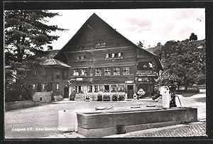 Ansichtskarte Langnau, Altes Gemeindehaus und Brunnen