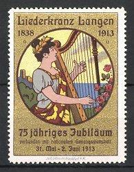 Reklamemarke Langen, Liederkranz 1913, Frau spielt Harfe