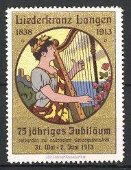 Reklamemarke Langen, Liederkranz 1913, Frau spielt auf