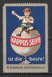 Reklamemarke Offenbach, Kappus Seife, Mädchen mit Stück