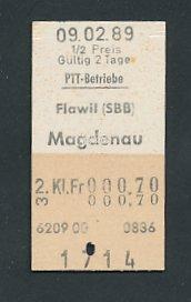 Fahrkarte Flawil - Magdenau, 2. Klasse