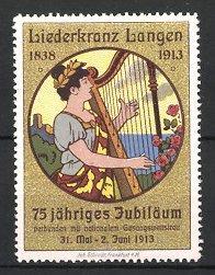 Reklamemarke Langen, Liederkranz 1913, Musikantin spielt Harfe